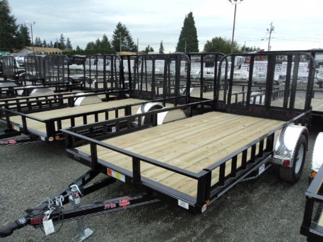 2017 PJ Trailers 6.5X12 Channel Utility Trailer w/Side Mount ATV Ramps