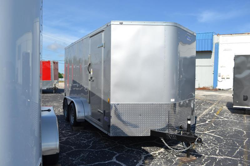 7x14 Continental Cargo | Enclosed Trailer [Silver] Barn Doors