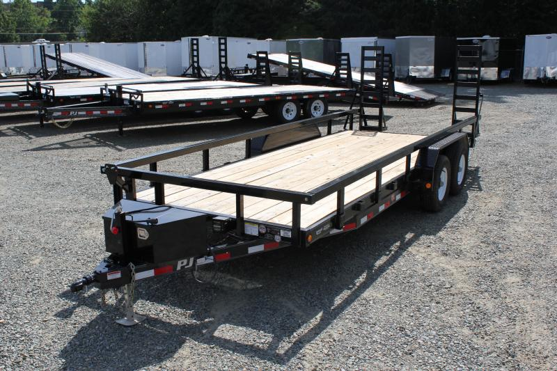 2017 PJ Trailers 20 CE 10K w/ 3x3 Top Rail & Fold Up Ramps