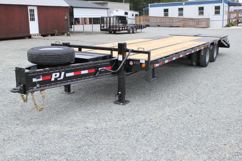 2019 PJ Low Pro 28ft PL Pintle Flatbed w/ Disc Brakes & Monster Ramps