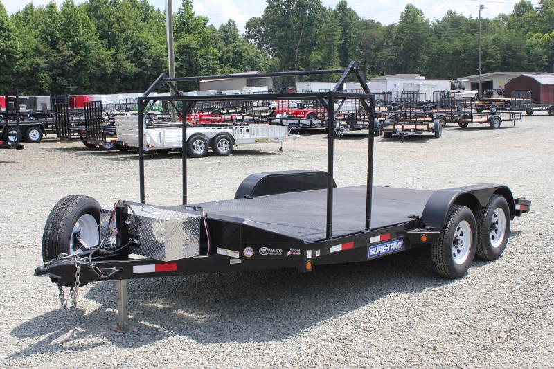 2013 Pre Owned Sure-Trac 16ft 7k Metal Deck car Hauler Car / Racing Trailer