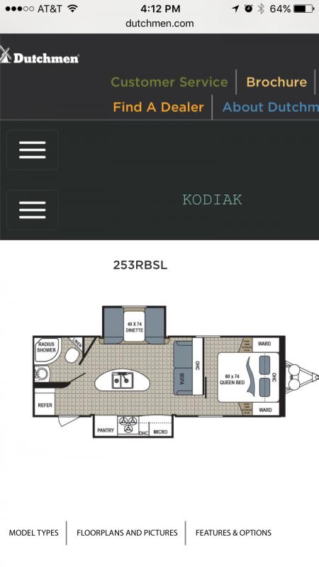 2016 Kodiak 253RBSL Travel Trailer