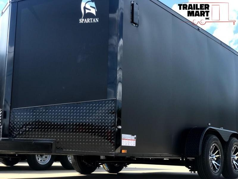 2020 Spartan 7X14TA Motorcycle Special Enclosed Trailer Matte Black with Black Out and Aluminum Wheels