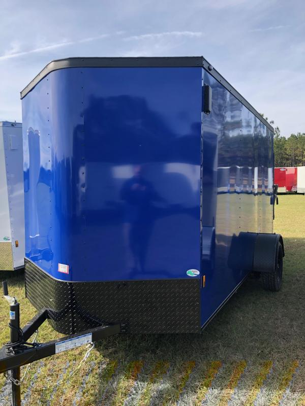 2019 Forest River 6x12 Blue w/ Blackout Pkg Enclosed Cargo Trailer