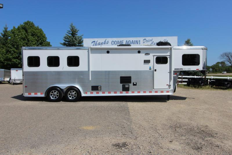 2015 Sundowner Trailers 6911 3HR GN with slide Horse Trailer
