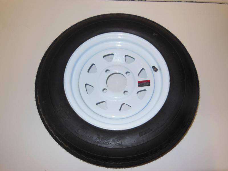 TIRE & RIM 5.30 - 12   4 LUG WHITE SPOKE