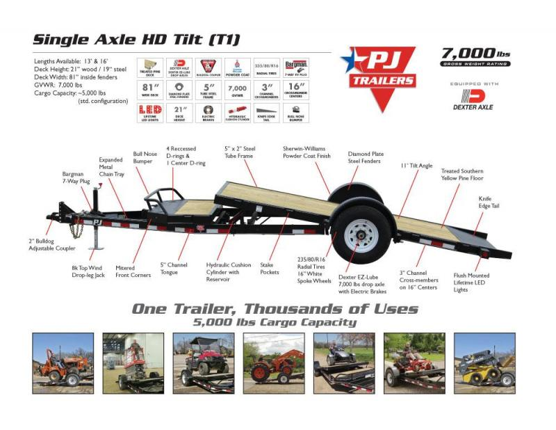 2019 PJ 16' T1 Tilt Equipment Trailer