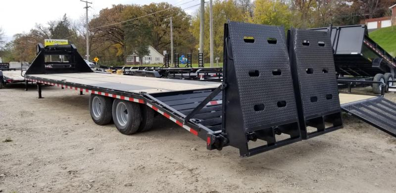 2019 Sure-Trac 8.5x20+5 Gooseneck Treated Deck Equipment Trailer Heavy Duty w/Full Width Ramps 20k