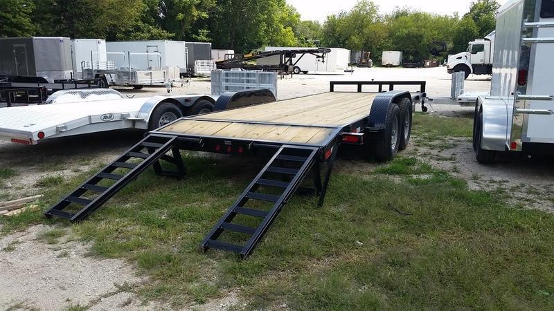 2019 M.E.B. 7x20 Wood Deck Equipment Trailer w/Stand Up Ramps 12k
