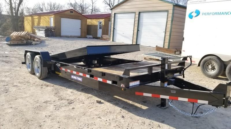 2018 Sure-Trac 7x18+4 Oak Wood Tilt Deck Equipment Trailer 16K