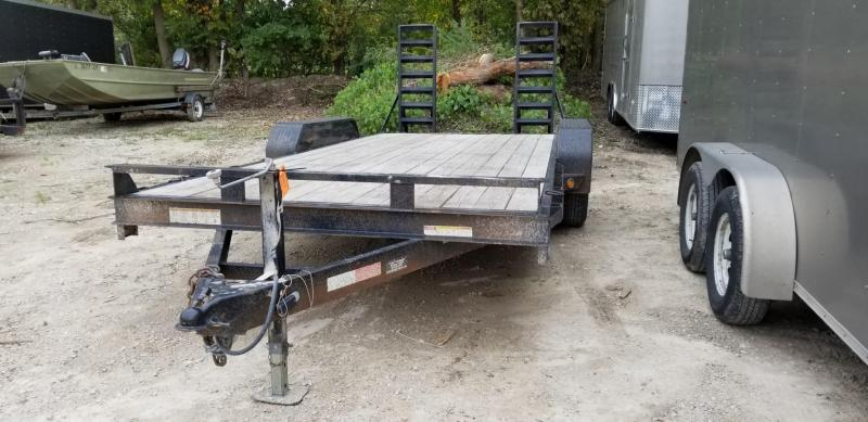 2010 Sure-Trac 7x18 Wood Deck Equipment Trailer w/Stand Up Ramps 10k
