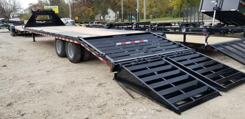 2019 Sure-Trac 8.5x25+5 Gooseneck Treated Deck Equipment Trailer Heavy Duty w/Full Width Ramps 20k