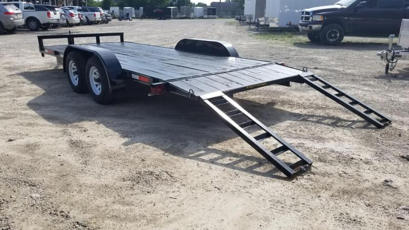 2019 M.E.B 7x18 Wood Deck Auto Hauler w/Slide Out Ramps 7K