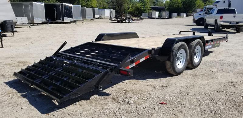 2019 Sure-Trac 7x17+3 Equipment Trailer w/Spring Asst Ramps 14k