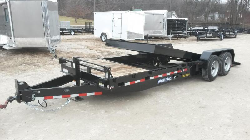 2019 Sure-Trac 7x18+4 Oak Wood Tilt Deck Equipment Trailer w/Stationary 16K
