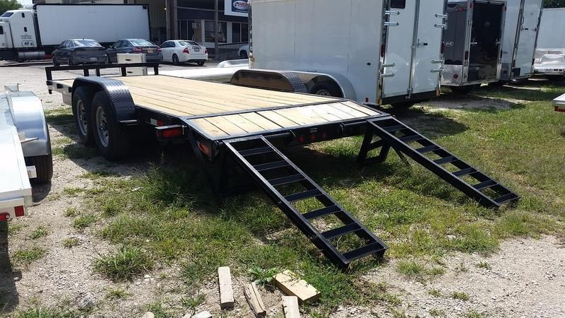 2019 M.E.B. 7x20 Wood Deck Equipment Trailer w/Stand Up Ramps 12k