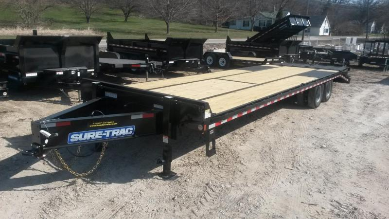 2019 Sure-Trac 8.5x25+5 Treated Deck Equipment Trailer Heavy Duty w/Full Width Ramps 20k