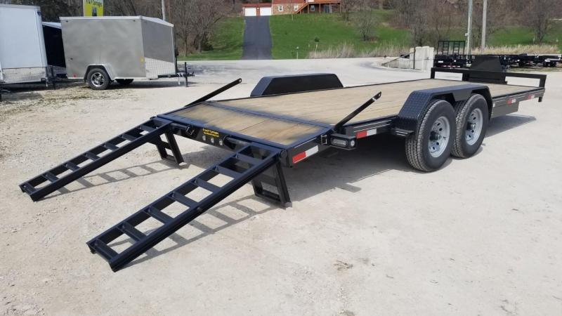 2020 M.E.B. 7x20 Wood Deck Equipment Trailer w/Stand Up Ramps 12k