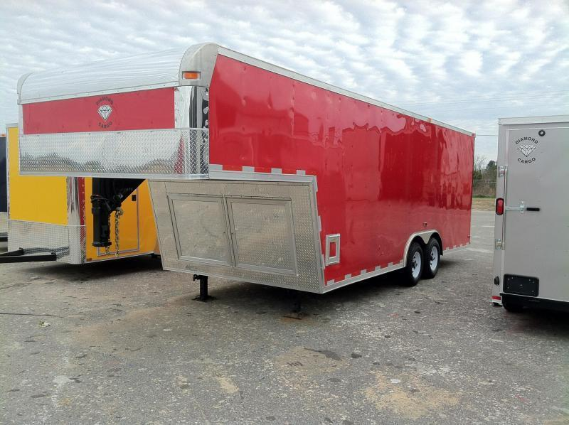 AVAILABLE 03/20/16 CALL AND RESERVE TODAY_______________      Diamond Cargo 8.5x28 GNT Enclosed Gooseneck Trailer Victory Red
