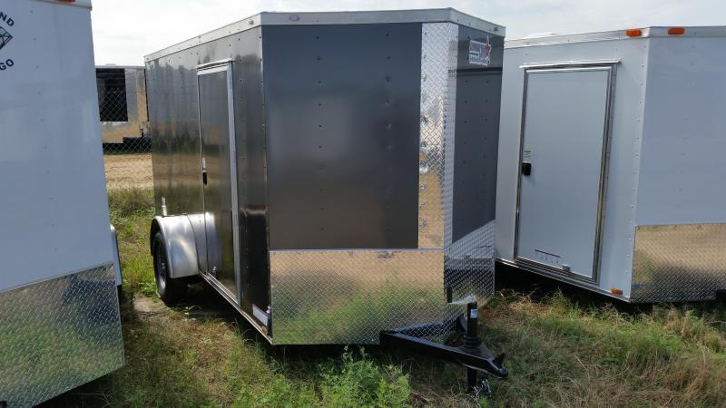 New 6x12 SILVER Single Axle Enclosed Cargo Trailer