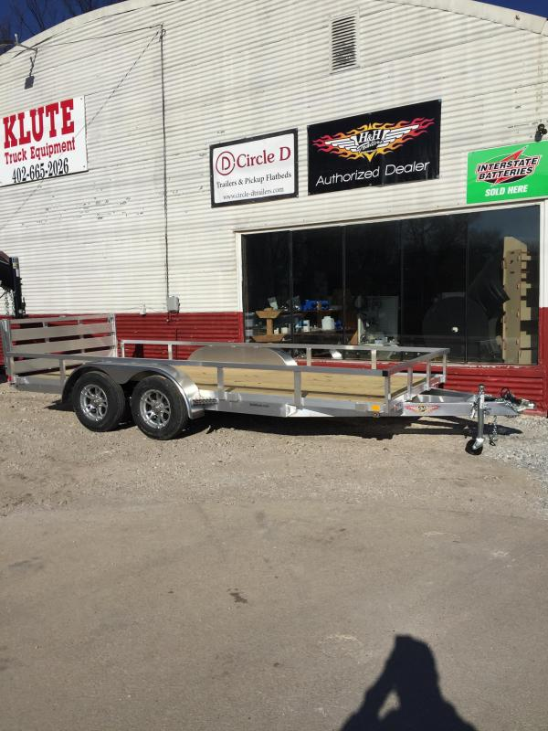 2019 H and H Trailer 8(76)X16 TANDEM RAILSIDE ALUM 7K