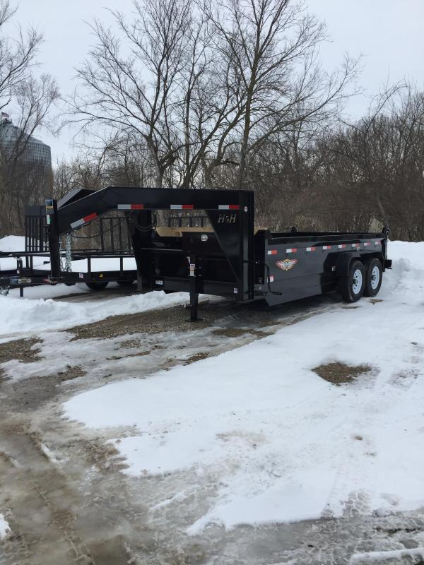 2019 H and H Trailer 83X16 DBW GN DUMP BOX 14K