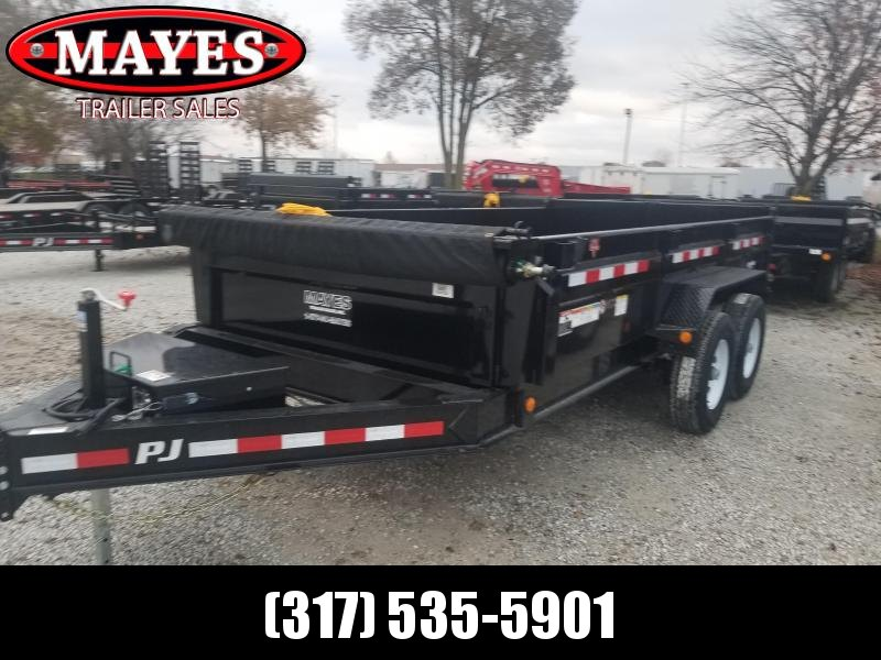 2019 83x14 Low Pro PJ Trailers DL142 Dump Trailer - Split/Spread Gate and Tarp Kit (GVW:  14000)