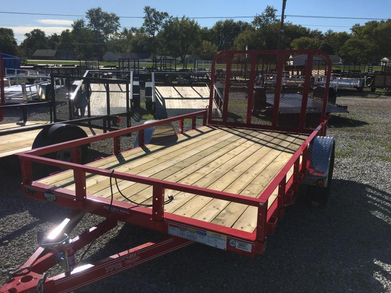 2018 77x12 PJ Trailers U7 Trailer - Straight Deck w/ 4' Fold-up Gate (GVW: 2990) *Black Spoke Wheels* *Red Powdercoat*