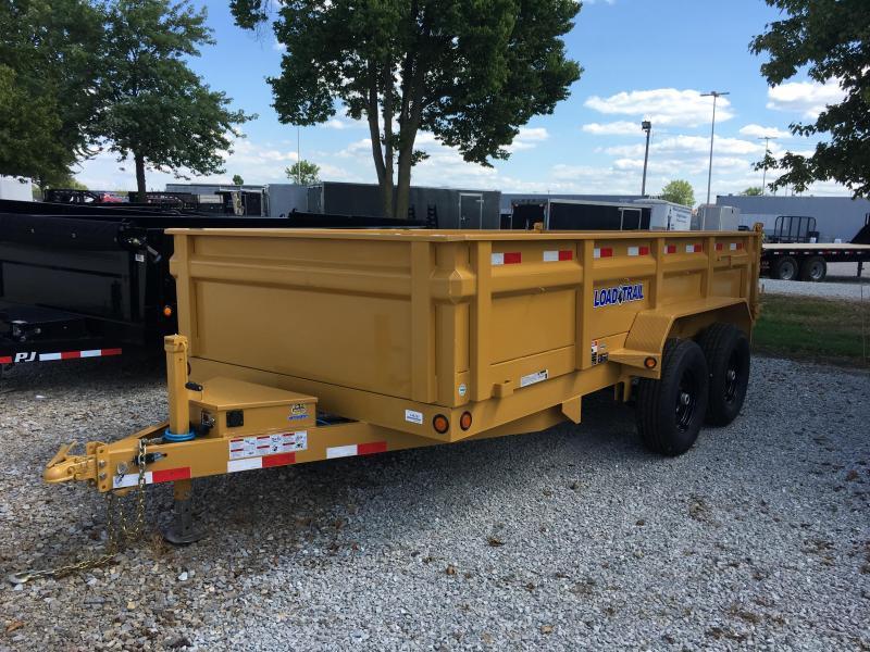 Special (this unit Only) 2017 83x14 Load Trail DT14 Dump Trailer - (Split/Spreader Gate)(Tarp Kit)(Ramps)(GVW: 14000) *Yellow Powdercoat* *Black Wheels*