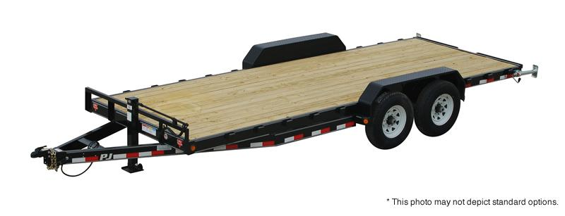 "2018 83x16 PJ Trailers CC 6"" Channel Equipment Trailer - Straight Deck w/ 5' Fold-up Ramps (GVW: 14000)"