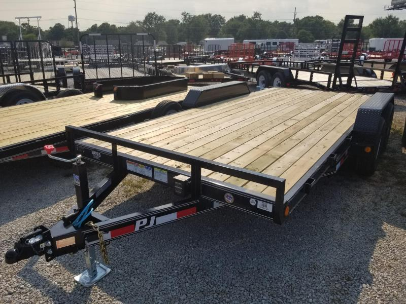 "2019 83x16 PJ Trailers CE 5"" Channel Equipment Trailer - Straight Deck w/ 5' Slide-in Ramps (GVW: 9899)"
