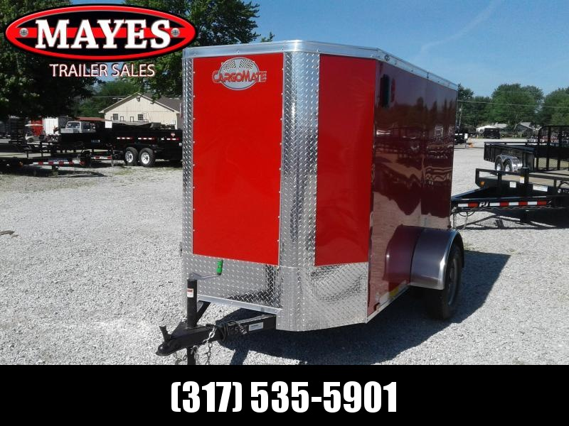 "2019 5x8 Cargo Mate EHW58SA Enclosed Cargo Trailer - Red (RD)(GVW: 2990)(6"" Extra Height) *Tapered Front Nose*"