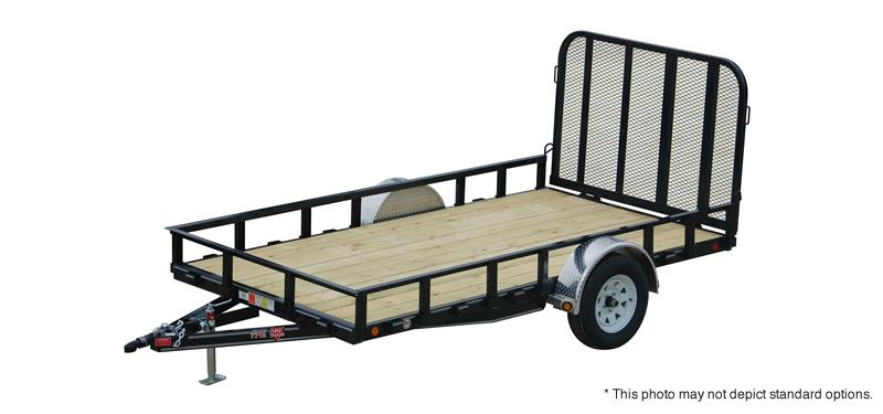 "2019 77x14 PJ Trailers U7 77"" Single Axle Channel Utili Trailer - Straight Deck w/ 4' Fold-up Gate (GVW: 2995) *Red Powdercoat* *Black Wheels*"