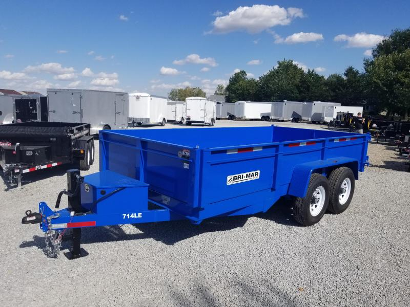 2018 81 1/2x14 Bri-Mar DT714LP-LE-14 Twin ***Telescopic Cylinders*** Dump Trailer - (Split/Spreader Gate)(Ramps)(GVW: 14000) *Blue Powdercoat*