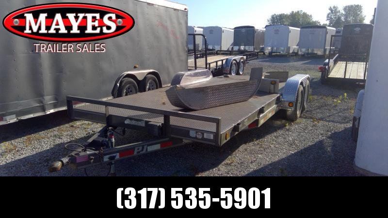 Used 2011 83x20 (18+2) TA PJ Trailers C5202 Car / Racing Trailer - Steel Floor - D-Rings (GVW:  7000)