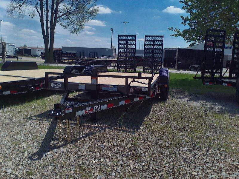 "2018 80in x18(16+2' Dovetail) PJ Trailers CC 6"" Channel Equipment Trailer - w/ 31x66 HD Fold-up Ramps (GVW: 16000)(14 Ply Tires)"