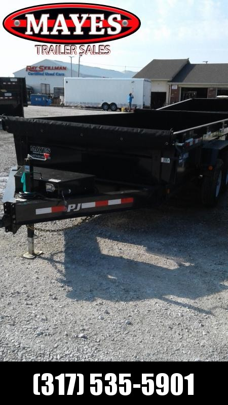 2019 83x14 TA Low Pro PJ Trailers DL142 Dump Trailer - Split/Spread Gate - Tarp Kit (GVW:  14000)