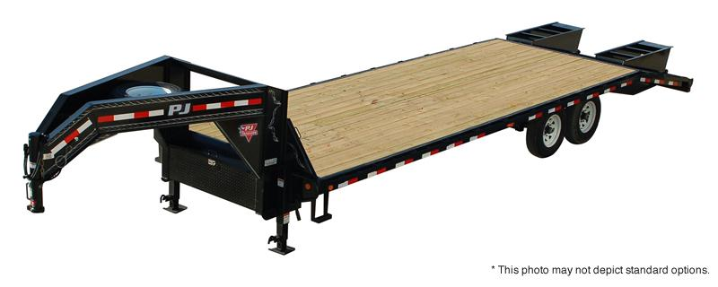 2019 102x25(20+5' Dovetail) PJ Trailers FD Classic Flatdeck with Singles Trailer - w/ 2 Flip-over Monster Ramps (GVW: 15680) Gooseneck