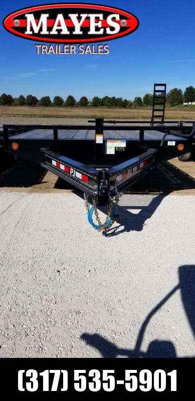 2019 102x20(17+3' Dovetail) PJ Trailers F8 Flatbed Trailer - 5' Fold-up Ramps (GVW: 14000)