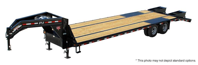 2019 102x32(27+5' Dovetail) PJ Trailers LD Low-Pro Flatdeck with Duals Trailer - w/ 2 Flip-over Ramps (GVW: 25000)