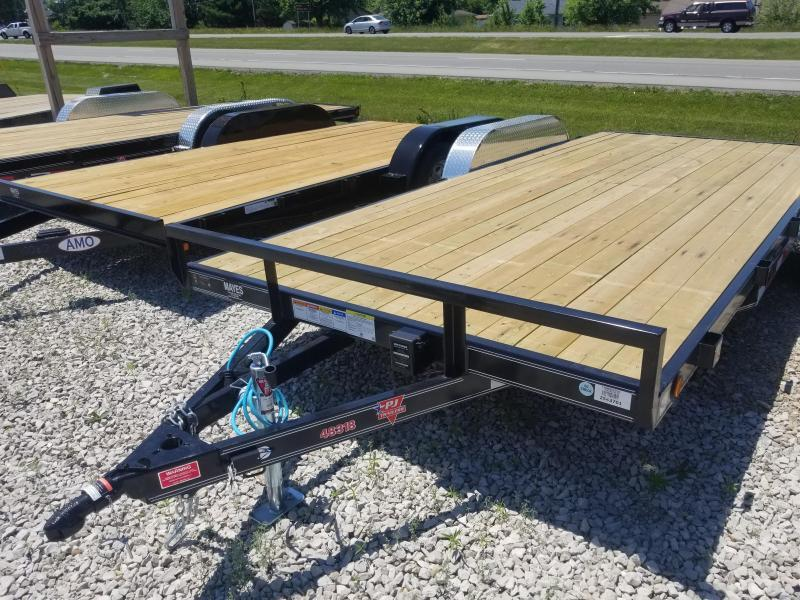"2019 83x18 PJ Trailers C4 4"" Channel Carhauler Trailer - Straight Deck w/ 5' Slide-in Ramps (GVW: 7000)"
