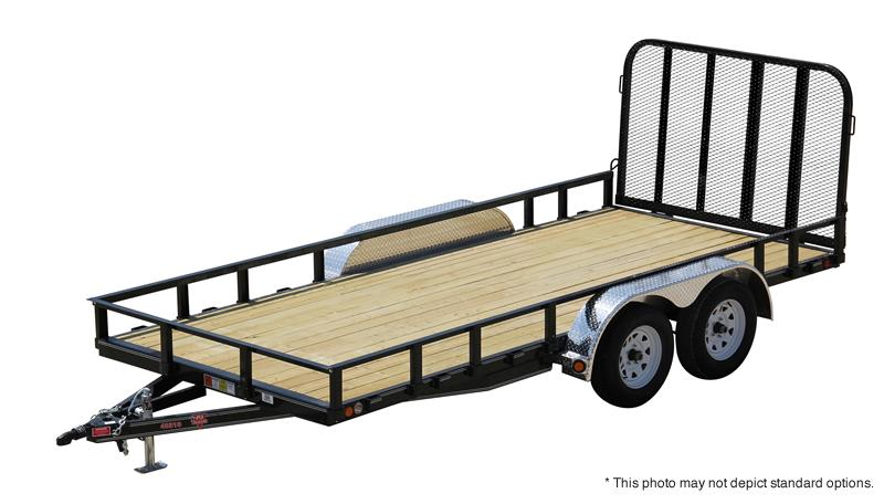 "2017 83x20(18+2' Dovetail) PJ Trailers U8 83"" Tandem Axle Channel Utility Trailer - w/ 4' Fold-up Gate (GVW: 7000)(22"" Solid Sides)"