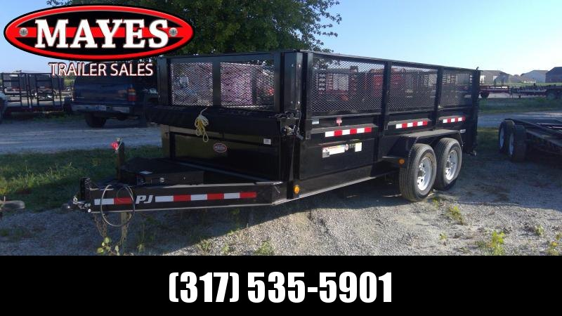 Used 2019 83x16 TA PJ Trailers DJ162 Dump Trailer - 24 Inch Sides with 3 way Gate plus 24 Inch Mesh Sides - 6 Inch Cylinder Upgrade (GVW:  14000)