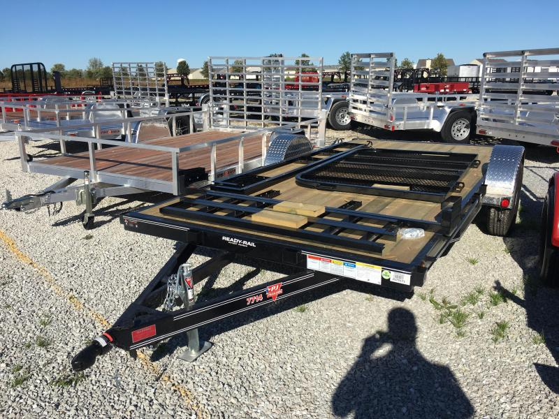 2018 77x14 PJ Trailers U7 Trailer - Straight Deck w/ 4' Fold-up Gate (GVW: 2990)(ATV Ramps)