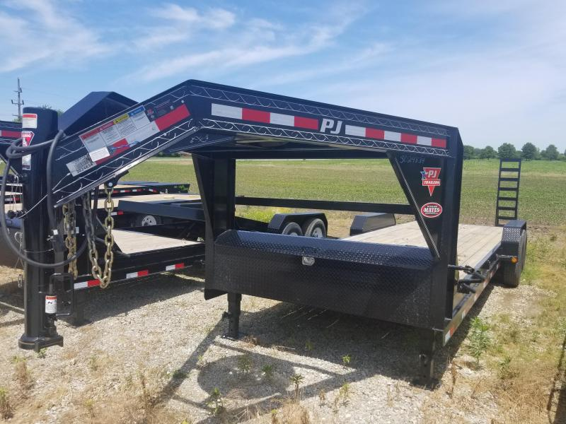 "2017 83x24(22+ 2' Dovetail) PJ Trailers CC 6"" Channel Equipment Trailer - w/ 5' Fold-up Ramps (GVW: 15680) *Gooseneck* *USED*"