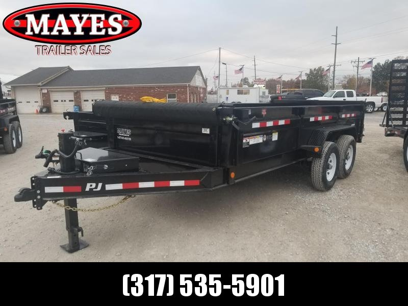 2019 83x16 Low Pro PJ Trailers DL142 Dump Trailer - Split/Srpead Gate and Tarp Kit (GVW:   14000)