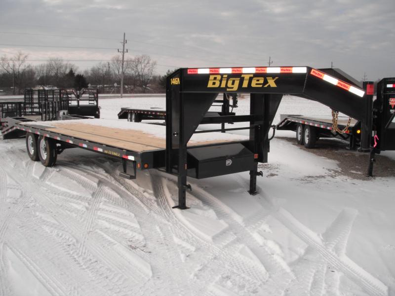 2015 102x25(20+5' Dovetail) Big Tex Trailers 14GN Flatbed Trailer - 5' Fold Up Ramps (Gooseneck)