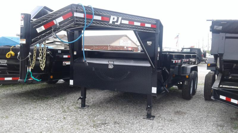 2019 83x14 TA Low Pro PJ Trailers DL142 Dump Trailer - Gooseneck - Split/Spread Gate (GVW:  15680)