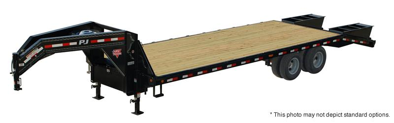 2018 102x32(27+5' Dovetail) PJ Trailers FD Classic Flatdeck with Duals Trailer - w/ 2 Flip-over Monster Ramps (GVW: 25000) *Gooseneck*