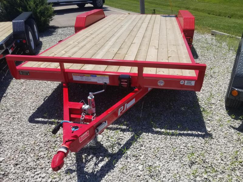 "2019 83x18(16+2' Dovetail) PJ Trailers C5 5"" Channel Carhauler Trailer - w/ 5' Rear Slide-in Ramps (GVW: 7000)(Red Powdercoat)(Steel Fenders)"